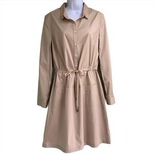Brooks Brothers Long Sleeve Shirt Dress Tan Sz 12